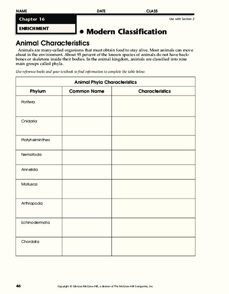 Phylum Chordata Lesson Plans Worksheets Reviewed By Teachers