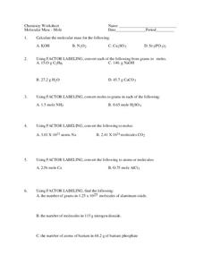 Molecular Mass Worksheet