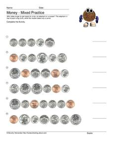 Money - Mixed Practice Worksheet