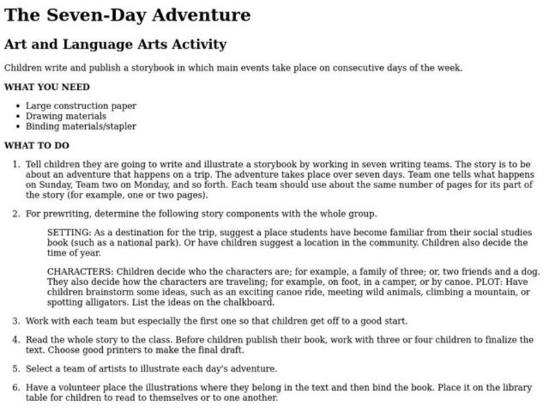 The Seven-Day Adventure Lesson Plan