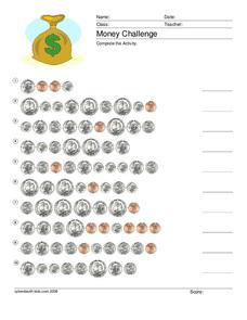 Money Challenge Worksheet