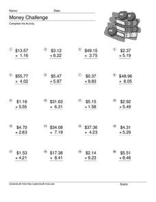 Money Challenge: Addition Worksheet