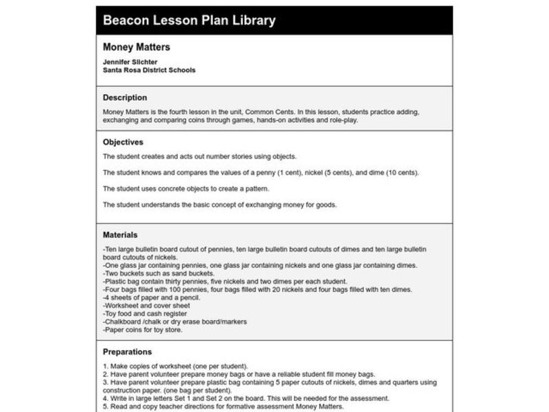 Money Matters Lesson Plan