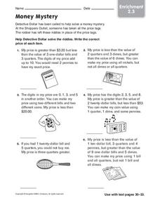 Money Mystery Worksheet