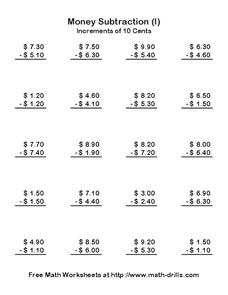 Money Subtraction Worksheet