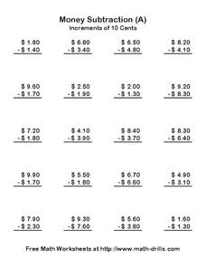 Money Subtraction (A) Worksheet