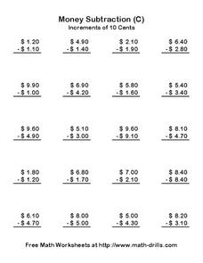Money Subtraction (C) Worksheet