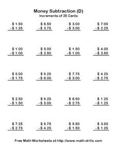 Money Subtraction (D) Worksheet