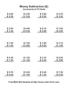 Money Subtraction (E) Worksheet