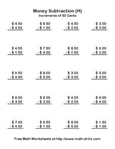 Money Subtraction (H) Worksheet