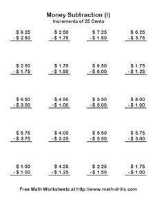 Money Subtraction (I) Worksheet