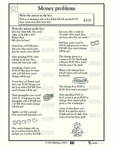 money word problems 3 worksheet for 2nd 3rd grade. Black Bedroom Furniture Sets. Home Design Ideas