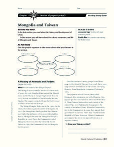 Mongolia and Taiwan Graphic Organizer