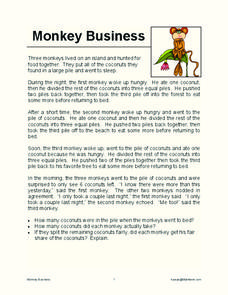monkey business worksheet for 4th 5th grade lesson planet. Black Bedroom Furniture Sets. Home Design Ideas