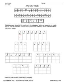 Monster Math Worksheet