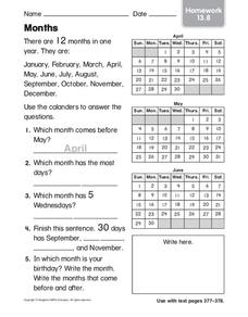 Months Worksheet