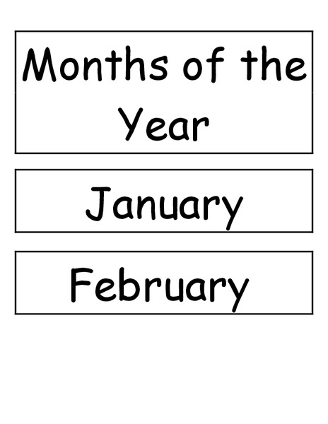 Months of the Year Printables & Template