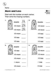 More and Less Worksheet