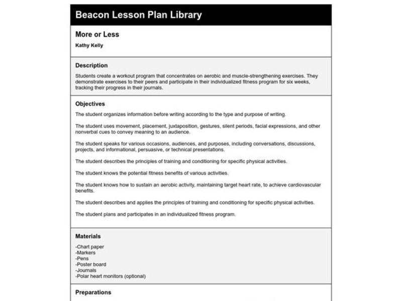 More or Less Lesson Plan