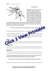 Mosquitoes Worksheet