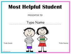 Most Helpful Student Award Printables & Template