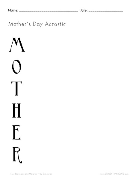 Mother's Day Acrostic Writing Prompt