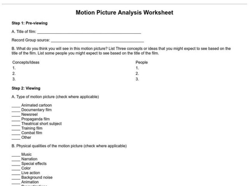 Motion Picture Analysis Worksheet Worksheet for 8th - 9th Grade ...