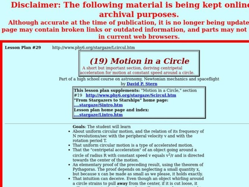 Motion in a Circle Lesson Plan