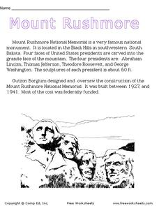 Mount Rushmore Worksheet
