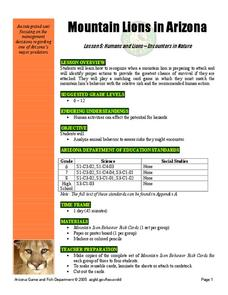 Mountain Lions in Arizona Lesson 5: Humans and Lions - Encounters in Nature Lesson Plan