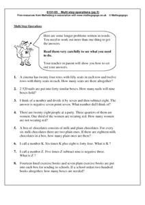 Multi Step Operations Worksheet