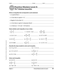 Multi-step Inequalities Worksheet
