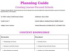 Achoo! Cold Season is Here Lesson Plan