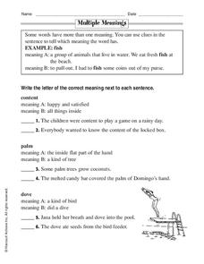 Multiple Meanings Worksheet