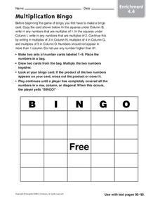 Multiplication Bingo Worksheet