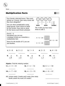 Multiplication Facts Worksheet