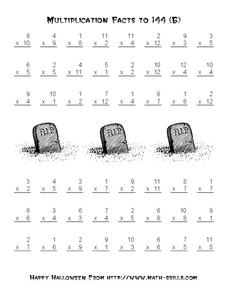 Multiplication Facts to 144 Worksheet