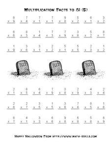 Multiplication Facts To 81 Worksheet