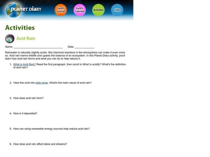 Acid Rain Worksheet For 4th 12th Grade Lesson Planet