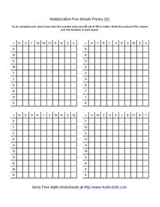 Multiplication Five Minute Frenzy (G) Worksheet