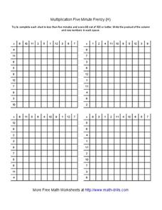 Multiplication Five Minute Frenzy (H) Worksheet