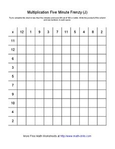 Multiplication Five Minute Frenzy (J) Worksheet