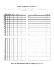 Multiplication Five Minute Frenzy (S) Worksheet