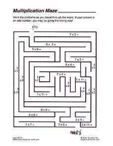 Multiplication Maze Worksheet