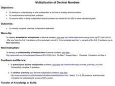 Multiplication of Decimal Numbers Lesson Plan