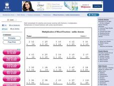 Multiplication Of Mixed Fractions Worksheet