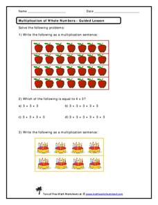 Multiplication of Whole Numbers Worksheet