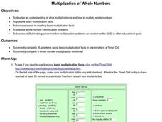 Multiplication of Whole Numbers Lesson Plan