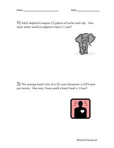 Multiplication Word Problems Worksheet