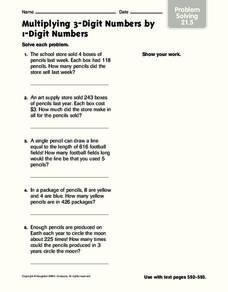 Multiply 3-Digit Numbers by 1-Digit numbers Worksheet